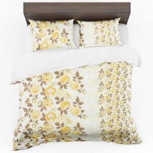 Stylové krémové povlečení na postel se vzorem květů ve žluté barvě