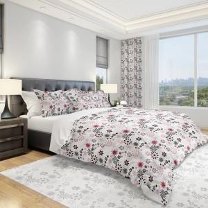 Kvalitní povlečení na postel 160x200cm v bílé barvě se šedě růžovým vzorem