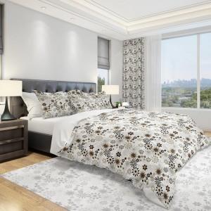 Moderní povlečení do ložnice v bílé barvě s béžovými a hnědými květy