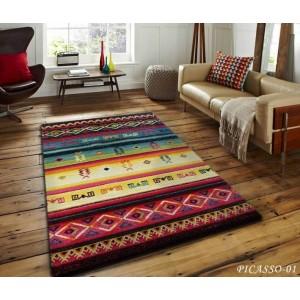 Barevný koberec s aztéckým vzorem