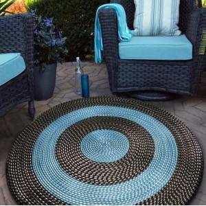 Černo tyrkysový kruhový koberec