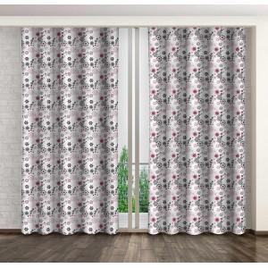 Dekorační závěsy do obýváku s motivem šedých a růžových květů