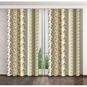 Krémové hotové závěsy do ložnice se žlutými květy