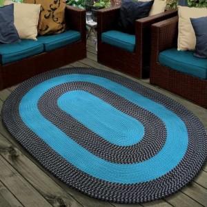 Šňůrkový koberec v tyrkysové barvě ovál