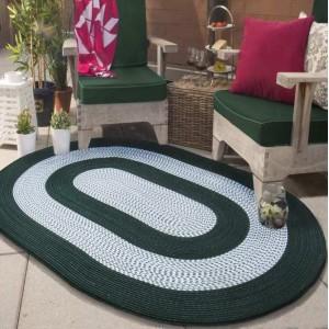 Oválný koberec v zeleno šedé barvě