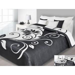 Přehoz na postel černé barvy s bílými vzory