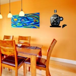 Černé hodiny na zeď s motivem kávové šálky