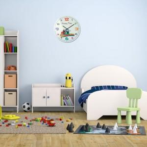 Dětské nástěnné hodiny v bílé barvě s vláčkem HAPPY TIME