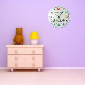 Dětské nástěnné hodiny bílé barvy se zvířátky