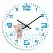 Chlapecké nástěnné hodiny v bílé barvě s medvídkem a modrým ciferníkem