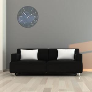 Tmavě šedé nástěnné hodiny do obýváku