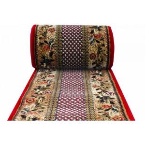Metrážny koberec s květinovým vzorem a červeným okrajem