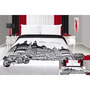 Černo bílý přehoz na postel s motivem Paříž