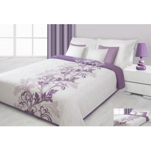 Přehoz na postel krémové barvy s fialovými květy