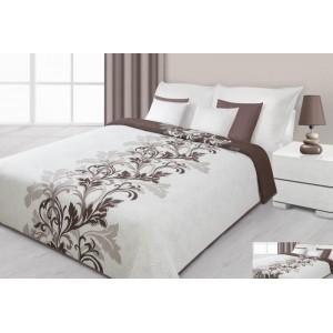 Přehoz na postel krémové barvy s hnědými květy