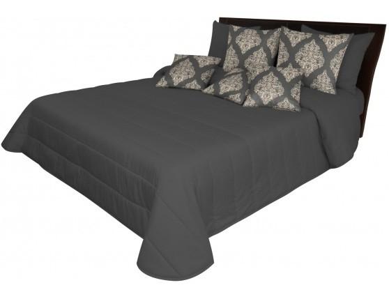 Tmavě šedý přehoz na postel s prošívaním