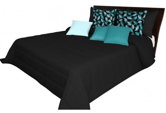 Černé přikrývky na postel s pruhovaným prošíváním