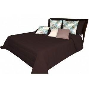 Hnědý přehoz na pres postel s prošívaním