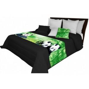 Prošívaný přehoz na postel s motivem pand