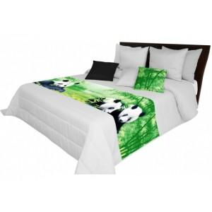 Přehozy na postel světle šedé barvy s pandami