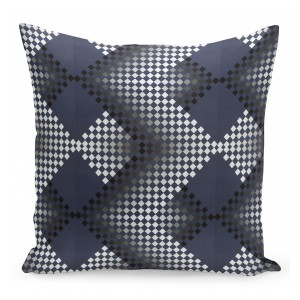 Modro šedo černé povlečení na polštářky s geometrickými vzory