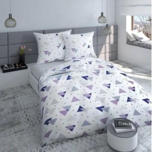 Bílo fialové bavlněné povlečení s trojúhelníky