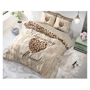 Bavlněné povlečení se vzorem leoparda HOME IS LOVE