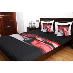 Přehoz na dětskou postel černé barvy s červeným autem