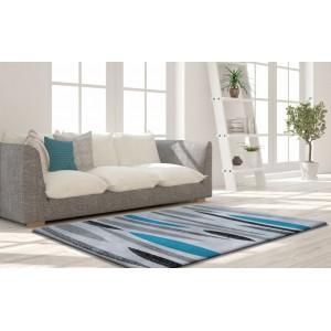 Kusový šedý koberec s tyrkysovým vzorem