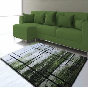 Zelený koberec s šedým vzorem do obývacího pokoje