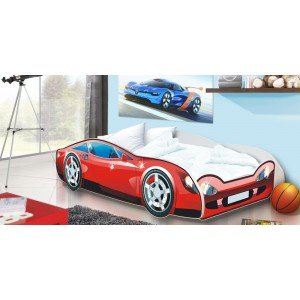 Červená dětská postel auto