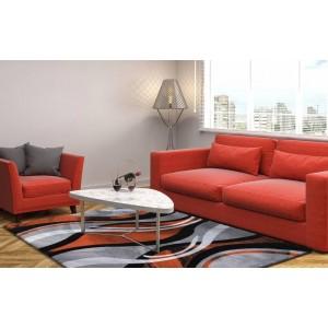 Oranžovo šedý koberec kusový do pokoje