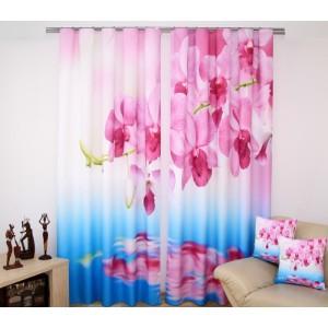 Modro - bílý závěs s růžovou orchidejí