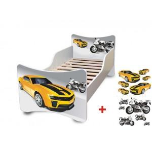 Kvalitní dětská postel s motivem žlutého auta a motorky