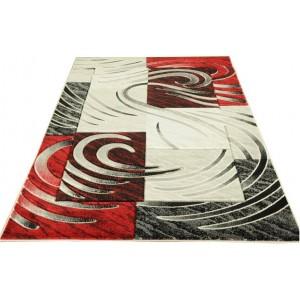 Kvalitní koberec v moderním designu šedo červený
