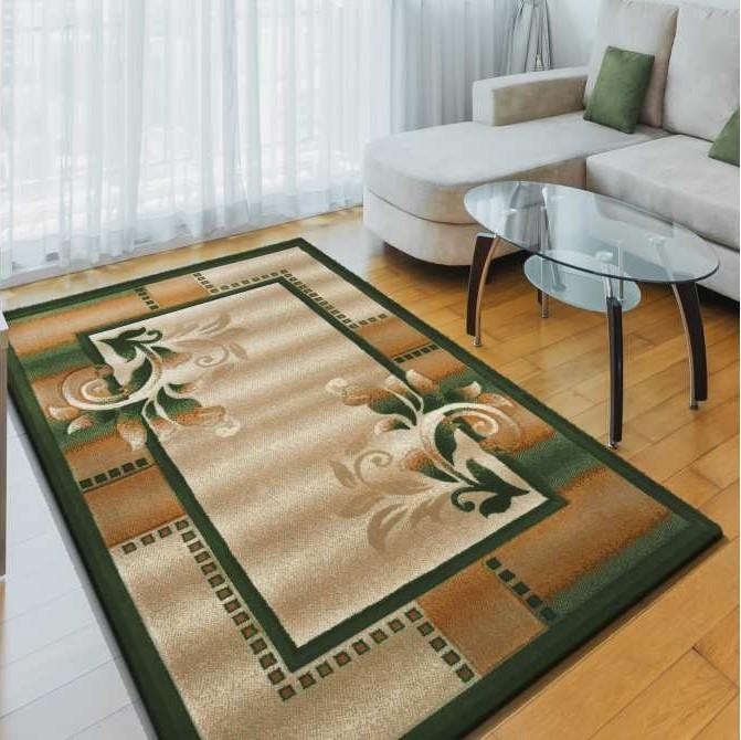 Kusový koberec v béžovo zelené barvě