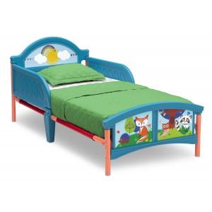 Modrá dětská postel LESNÍ ZVÍŘÁTKA
