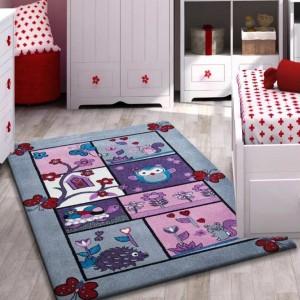 Dětský koberec šedý s obrázky zvířátek