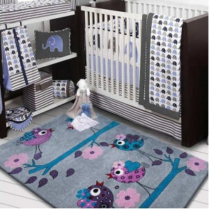Kvalitní koberec pro děti s ptáčky na větvičkách