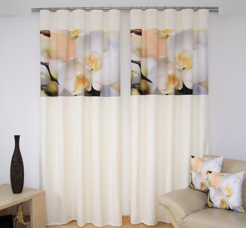 Krémový závěs s bílou orchidejí