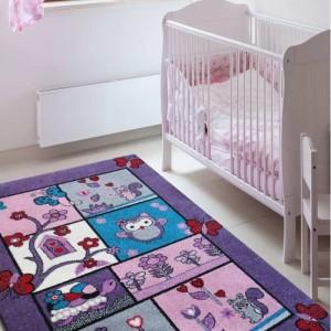 Fialový dětský koberec zvířátka