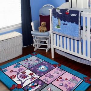 Stylový koberec pro děti tyrkysově fialový