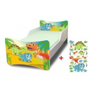 Dinosauři dětská postel bílé barvy