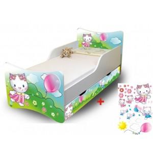 Dětská bíla postel s motivem kočky