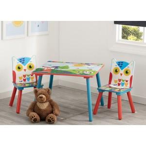 Dětský stolek se židlemi s motivem lesních zvířátek
