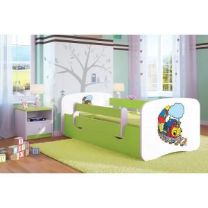 Dětské postele se zábranou a motivem mašinky
