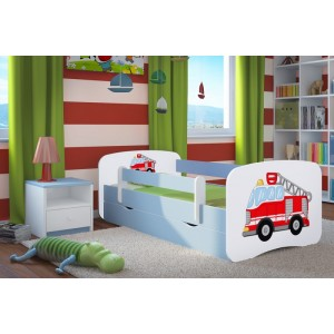Hasičské auto dětská postel modrá