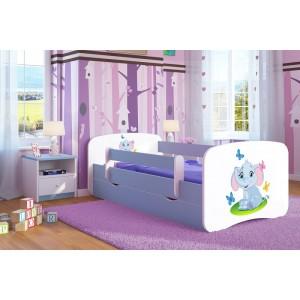 Modrá postel do dětského pokoje se sloníkem