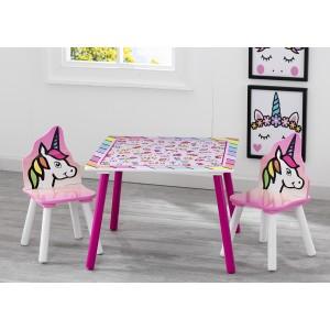 Dětský stolek se židlemi s jednorožcem