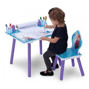Dětský stolek se židlemi určený na kreslení s pohádkou Frozen